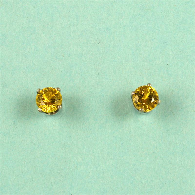 Yellow Sapphire Round 4mm Stud Earrings